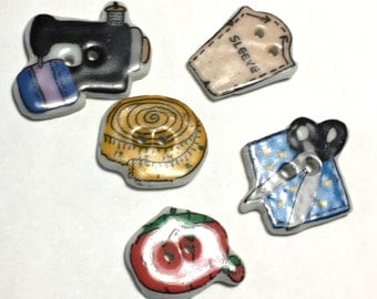 Porcelain Sewing Novelty Buttons Set of 5