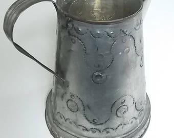 Vintage Metal Pitcher, Punched Tin, Pitcher With Handle, Farmhouse Decor, Tin Pitcher, Metal Decor, Accent Piece, SturdyPitcher, 8 In. High