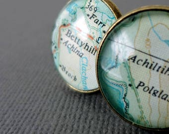 Personalized Map Cufflinks for Curtis - Route 22 at Salem and Trail