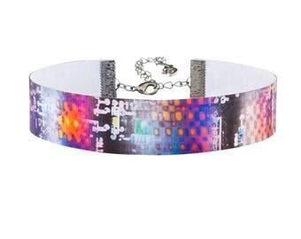 Robot Circuit Board Color Change Hologram 3D Lenticular Choker Necklace
