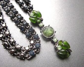 Blue Rhinestone Vintage Necklace