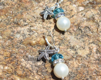 Pearl and starfish crystal dangle earrings, beach wedding, wedding jewelry, bridesmaids gifts, starfish earrings, pearl jewelry