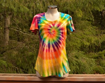 Tie Dye Rainbow Sunshine Flutter Sleeve Loose Fit Top, plus size clothing,
