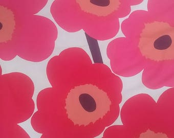Marimekko vintage UNIKKO cotton fabric red orange Maija Isola  tillukka