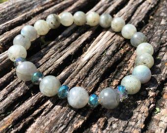 Beaded Bracelet, Stretchy Bracelet, Labradorite Bracelet, Beaded Jewelry, Gifts for Her, Unique Jewelry, Stackable Bracelets, Labradorite