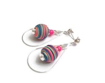 Neon Ball Teardrop Earrings Statement Fun Boho Rubber Bead Large