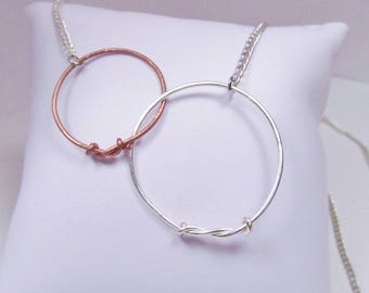 Mixed Metal Circle Necklace Wire Everlasting Love Necklace Chain Necklace