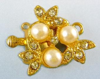 Gold Rhinestone Clasp Vintage Swarovski Crystal Pearl Two Strand Clasp C-8