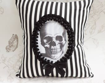 Cameo skull pillow- Gothic victorian pillow- cameo pillow -cushion black and white stripes- halloween- macabre-gothic  home decor
