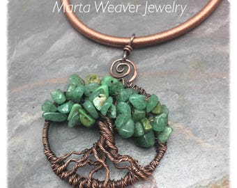 Mixed Green Gemstone Tree of Life Wire Wrapped Necklace, Copper Chain, Adjustable