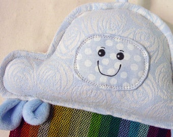 Cloud Rainbow Rattle - Babywearing Keepsake - Stroller Toy - Travel Toy - Wrap Scrap Toy - Minky Lovie - Raincloud Toy - Rainbow Baby Gift