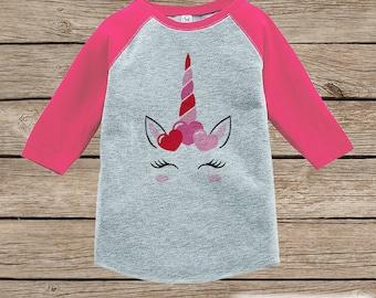 Girls Unicorn Shirt - Pink Heart Crown - Unicorn Valentine's Day Top - Girls Onepiece or Tshirt - Baby, Kids, Toddler, Youth Pink Raglan