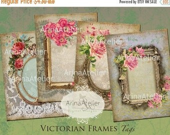 SALE - 30%OFF - TAGS Victorian Frames - Digital Collage Images - Scrapbooking supplies - Digital Images - Digital Victorian Cards - Digital