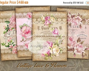 SALE - 30%OFF - CARDS Vintage Lace and Flowers - Digital Collage Sheet - Romantic Tags - Scrapbooking Backgrounds - Digital Printables - Pri