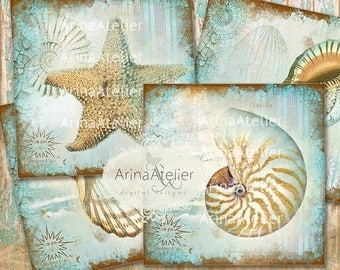 SALE - 30%OFF - COASTERS Shabby Sea Shells - Digital Collage Coasters - Digital Maritime Tags - Nautical Images - Scrapbooking Backgrounds -