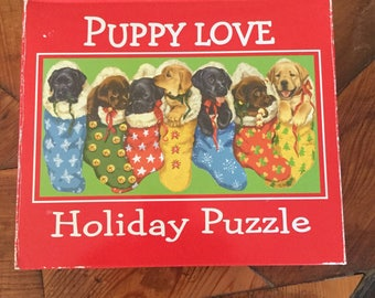 Vintage Christmas Puzzle, Puppy Love Holiday Puzzle by Current, 1000 piece puzzle, Labrador Puppies Puppy, Christmas Stocking