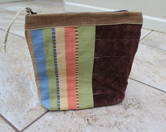 Utility Pouch Washable Brown Suede, Upcycled Rug, Unisex Pouch