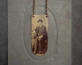 Victorian Tintype Necklace - Portrait of a Young Man