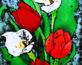Tulips and Lilies - ooak - 17.3 x 13.4ins (45 x 34cms)A perfect bouquet of colour and beauty