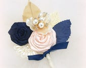 Wedding Groom Boutonniere Navy Blue Pink Blush Gold Corsage Mother of the Bride