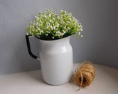 Vintage enamel pitcher white and black Enamelware jug