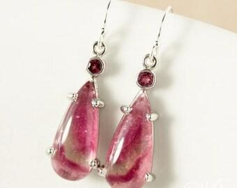 ON SALE Pink Bi Color Tourmaline Teardrop Dangle Earrings – 925 Sterling Silver