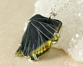 Single Dark Green Tourmaline Butterfly Wing Necklace - One of a Kind - Tourmaline Jewelry
