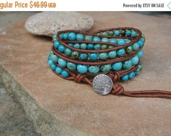 SALE 60% OFF Tree of Life Turquoise Beaded Leather Wrap Bracelet