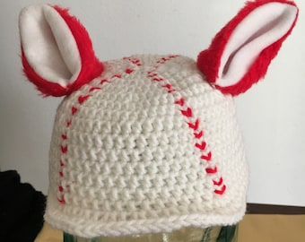 Hand Crochet Baby Baseball Cap with Ears