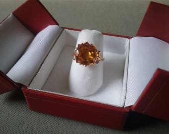 Vintage 10K Gold Citrine Topaz Yellow Synthetic Stone Ring Sweetheart Ring  Free Shipping To The Usa And Canada