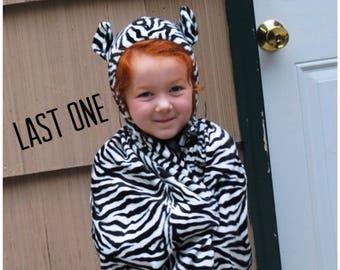 Zebra Cape Costume Child Faux Fur Photographer Prop Halloween Make Believe Black White Animal Print