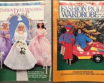 Vintage 1980s McCall's Fashion Doll Wardrobe and Wedding