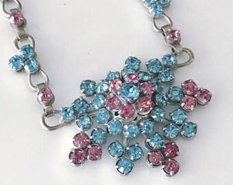 Gorgeous Vintage Barclay Pink and Blue Rhinestone Mid Century Era Necklace