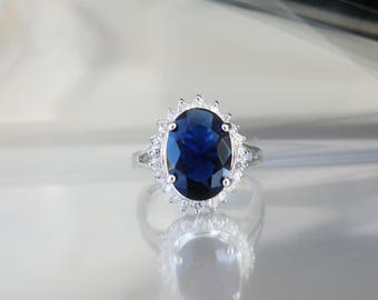 Royal Silver Kate Middleton Replica Sterling Silver Blue Simulated Sapphire Engagement Halo Ring Size 9