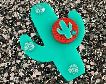Cactus Sunset Paradise Brooch - Teal/Red - Rockabilly - Retro - Pinup - Vintage Style