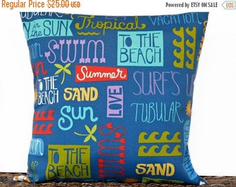 Christmas in July Sale Beach Words Pillow Cover Cushion Outdoor Tropical Surf Sun Royal Blue Turquoise Lime Green Purple Decorative 18x18