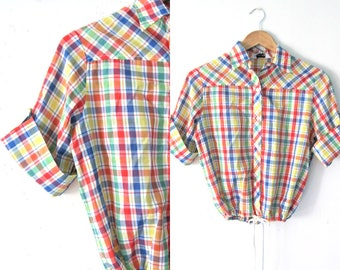 Vintage 60s plaid top, drawstring waist Picnic plaid Day in the park shirt / Rainbow plaid blouse top
