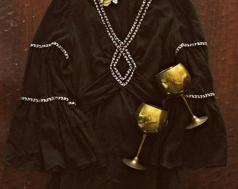 Spring SALE Vintage 70s Bohemian Goddess MAGICK dress / braided trim cotton gauze maxi dress / Renaissance  flare sleeves