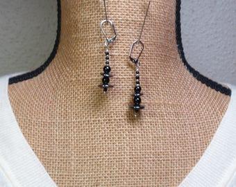 Natural Black Onyx Gemstones, 925 Silver Earrings