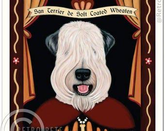 11x14 Soft Coated Wheaten Terrier Art - Patron Saint of Perpetual Kisses - Art print by Krista Brooks