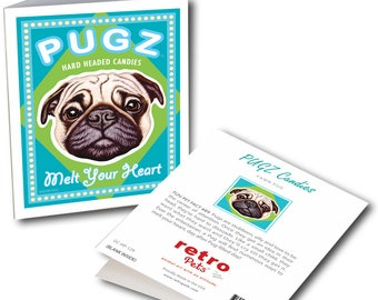 """Pug Art """"PUGZ Candy"""" 6 Small Greeting Cards by Krista Brooks"""