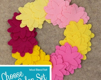 Wool Blend Felt Flowers | 12 Larkspur Flowers | Pick a Color Set | DIY | 36 Unassembled Flowers