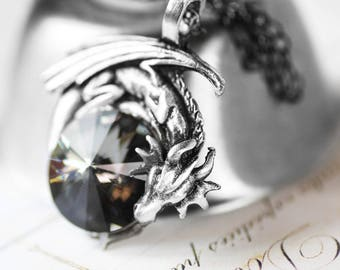 Reserved - Dragon Necklace - Swarovski Crystal with Pewter Pendant and Oxidized Sterling Silver Necklace Game of Thrones Dragons