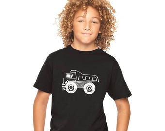 Dump Truck Shirt For Boys, Construction Party, Birthday Tshirt, Unisex Youth Clothing, Short Sleeved Cotton Crewneck Building Equipment top