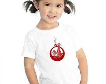 Toddler Holiday Tshirt, Chirstmas Ornament, Wild Animals, Zebra Graphic Tee, Rhinoceros Shirt, Giraffe Christmas Shirt  Holiday Ornament Tee