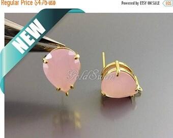 15% SALE 2 pcs / 1 pair bridal wedding semi opaque pink stone earrings, ice pink glass stone earrings 5159G-PI