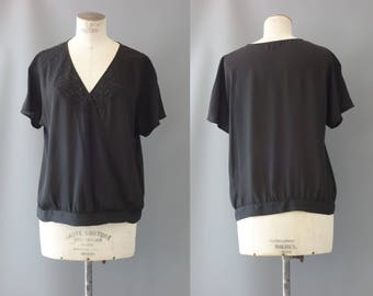 Black viscose embroidered wrap blouse | 1990's by Cubevintage | medium
