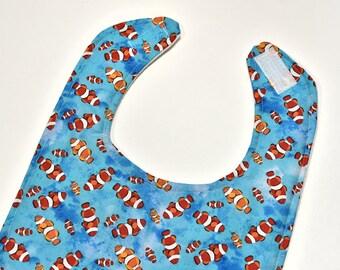 Fish Baby Bib Boy, Drool Bib, Baby Bibs, Infant Bib, Reversible Bib, Baby Gift Under 10, Baby Shower Gift, Made From Fish Fabric