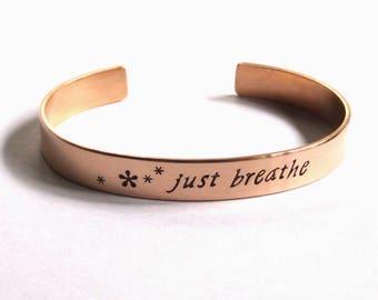 Bronze cuff bracelet handstamped with just breathe