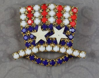 Vintage Uncle Sam USA Patriotic Red, White and Blue Matte Rhinestone Gold Double Star Top Hat Brooch